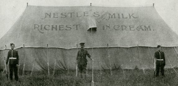 Nestlé advertising on a soldiers canteen