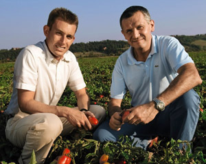 Nestlé employee and agronomic service manager in a field of tomatoes