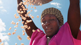 Cereals falling from a women's basket