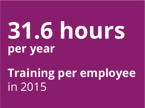 31.6 hours per year Training per employee in 2015