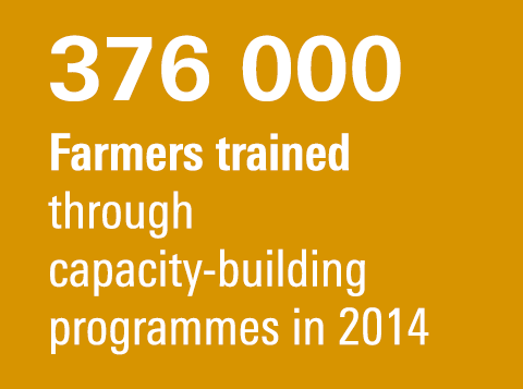 376 000 Farmers trained through capacity-building programmes in 2014