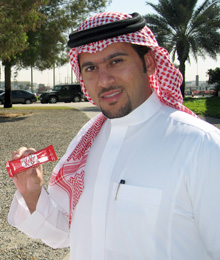 Waleed Binbrek with a Kit Kat in hand