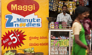 Shopkeeper selling Maggi noodles