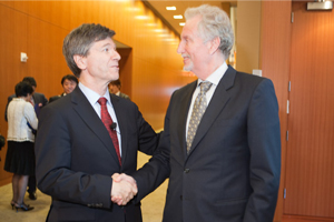 Jeffrey Sachs, left, Director for the Earth Institute with Niels Christiansen, Nestlé Vice President of Public Affairs.