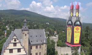 Maggi poster covering the tower at Kronberg Castle in Germany
