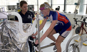 Athlete on a bike during a scientific test