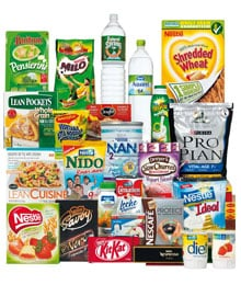A selection of popular Nestlé products