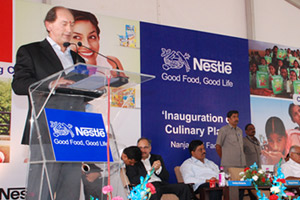 Nestlé CEO Paul Bulcke addressed guests at the inauguration ceremony of a new culinary factory in Karnataka