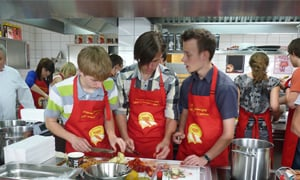 Polish teenagers preparing ingredients