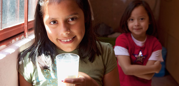 Mexican girls drinking milk