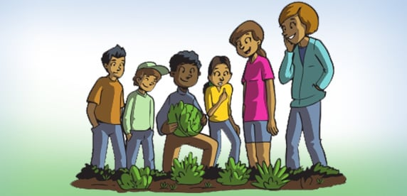 cartoon showing gardening kids