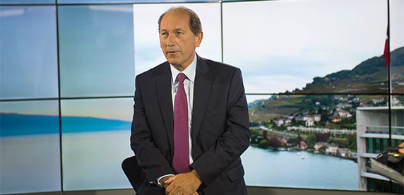 Nestlé CEO Paul Bulcke in the television studio at Nestlé headquarters in Switzerland