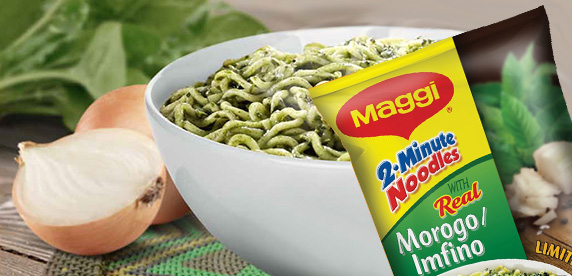 Maggi noodles with morogo