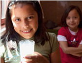 Girl drinking fortified milk