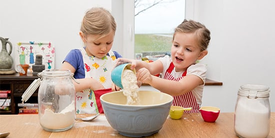two girls baking in the kitchen